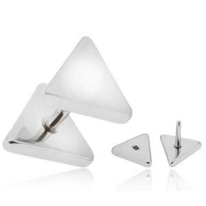 Fake plug do ucha z chirurgickej ocele, strieborná farba, trojuholníky