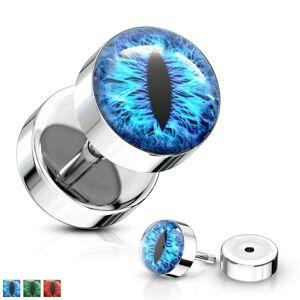 Fake plug z chirurgickej ocele striebornej farby s motívom hadieho oka - Farba piercing: Červená