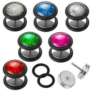 Fake plug z ocele 316L, okrúhly tvar, čierne gumičky, rôzne farby, 6 mm - Farba piercing: Červená