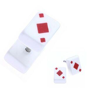 Falošný akrylový plug do ucha - hracia karta, červená kára