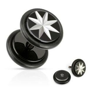 Falošný piercing do ucha - osemcípa hviezda striebornej farby