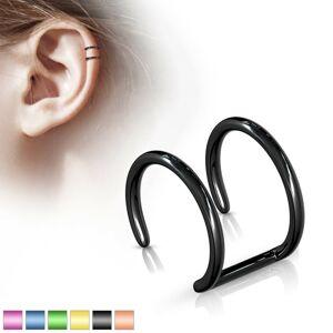 Falošný piercing do ucha z ocele 316L - anodizovaný dvojitý krúžok - Farba piercing: Fialová