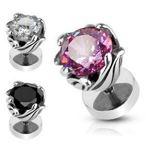 Falošný piercing z ocele - obruč z lístkov, zirkón - Farba zirkónu: Ružová - P