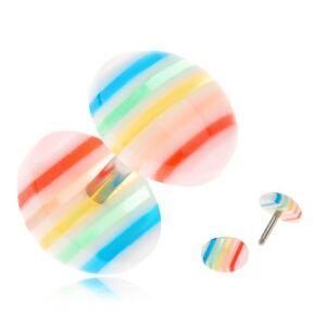 Falošný plug do ucha, vypuklé číre kolieska s farebnými prúžkami