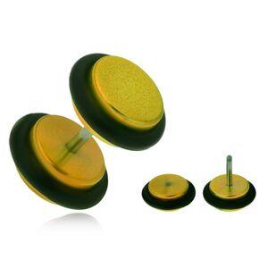 Falošný plug do ucha z akrylu, lesklé žlté kolieska