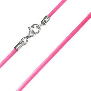 Hladká gumená šnúrka na krk v ružovom prevedení