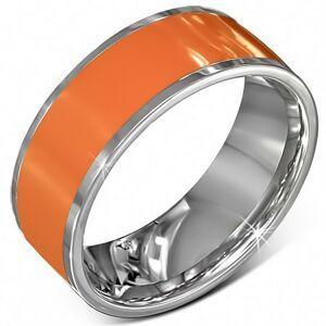 Hladká oceľová obrúčka v oranžovej farbe s okrajom striebornej farby - Veľkosť: 62 mm