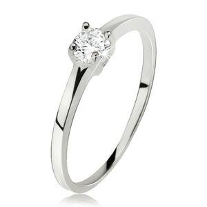 Hladký prsteň striebro 925, okrúhly číry zirkón v kotlíku so štyrmi kolíčkami - Veľkosť: 63 mm