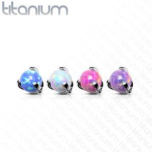 Hlavička z titánu, gulička v puzdre, syntetický opál, závit, rôzne farby, 4 mm - Farba piercing: Biela