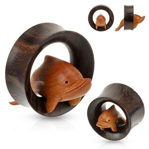 Hnedý drevený tunel do ucha, delfín skáčuci cez obruč - Hrúbka: 25 mm