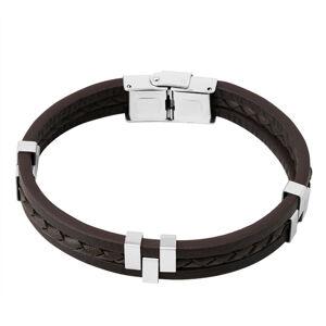 Hnedý kožený náramok - tri pásiky, pletenec v strede, kovové posuvné články