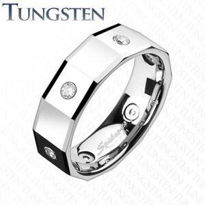 Hranatý volfrámový prsteň so štvorcami a zirkónmi - Veľkosť: 67 mm