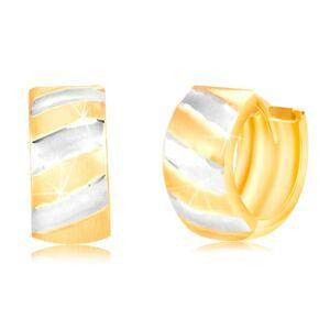 Kĺbové náušnice v 14K zlate - krúžok s matnými dvojfarebnými pásmi