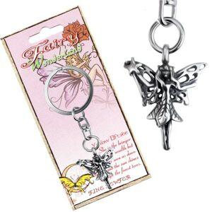 Kovová kľúčenka s príveskom lesnej víly s čarovnou paličkou