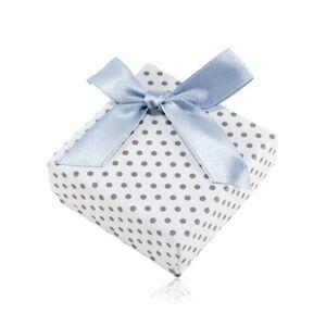 Krabička na náušnice alebo dva prstene, biely povrch, sivé bodky a lesklá mašľa