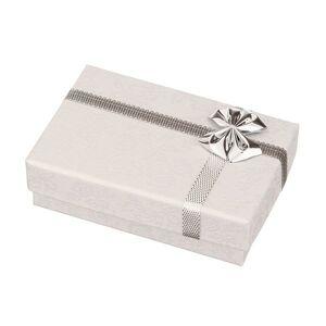 Krabička na obrúčky - biela s potlačou ružičiek, strieborná mašľa