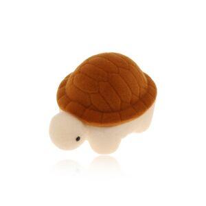 Krabička na prsteň alebo náušnice, hnedo-krémová zamatová korytnačka
