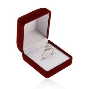 Krabička na prsteň alebo náušnice, zamatový povrch v bordovom odtieni