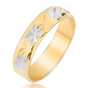 Lesklá obrúčka s diamantovým vzorom zlato-striebornej farby - Veľkosť: 56 mm