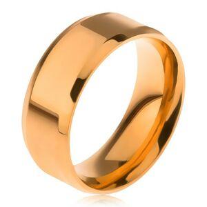 Lesklá obrúčka z ocele 316L, zlatá farba, skosené okraje - Veľkosť: 62 mm