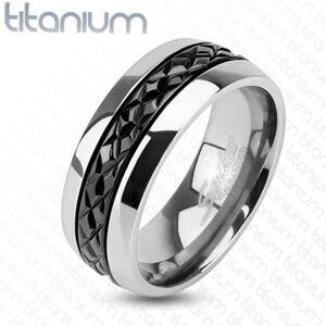 Lesklá titánová obrúčka striebornej farby, priečne zárezy na čiernom páse, 8 mm - Veľkosť: 60 mm