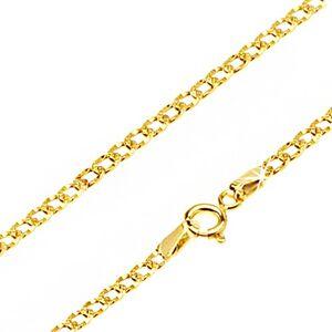 Lesklá zlatá retiazka 585 - oválne očká zdobené drobnými jamkami, 500 mm