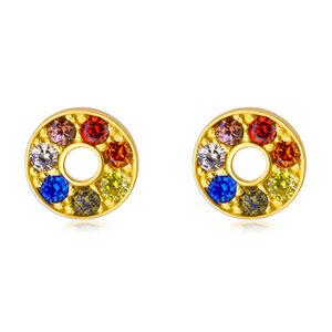 Lesklé zlaté náušnice 585 - kontúra kruhu s farebnými zirkónmi a výrezom uprostred