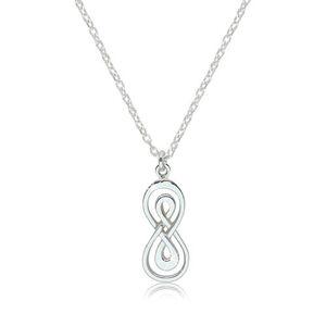 Lesklý náhrdelník zo striebra 925 - dvojitá ležiaca osmička s hladkým povrchom
