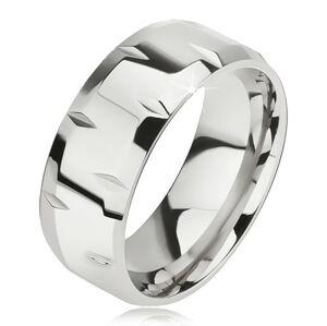 Lesklý oceľový prsteň, drobné zárezy, skosené okraje - Veľkosť: 67 mm