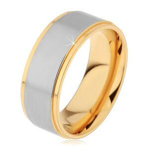 Lesklý oceľový prsteň strieborno-zlatej farby s dvomi zárezmi - Veľkosť: 67 mm