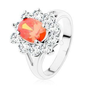 Lesklý prsteň so striebornou farbou, oranžový ovál, číra zirkónová obruba - Veľkosť: 51 mm