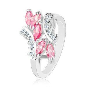 Lesklý prsteň striebornej farby, ružové zirkónové zrnká, číre zirkóniky - Veľkosť: 55 mm