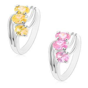 Lesklý prsteň striebornej farby, zirkónové ovály, tenké zvlnené línie - Veľkosť: 50 mm, Farba: Ružová