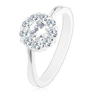 Lesklý prsteň v striebornom odtieni, žiarivý číry zirkónový kvietok - Veľkosť: 59 mm