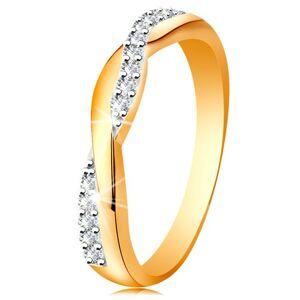 Lesklý prsteň zo 14K zlata - dve prepletené vlnky - hladká a zirkónová - Veľkosť: 55 mm