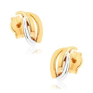 Ligotavé náušnice z 9K zlata - dvojfarebné zahnuté línie