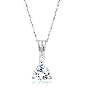 Ligotavý náhrdelník - trojuholníkový zirkón a zdobené očko, striebro 925