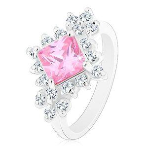 Ligotavý prsteň, ružový zirkónový štvorec lemovaný okrúhlymi čírymi zirkónmi - Veľkosť: 49 mm