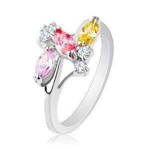 Ligotavý prsteň s lesklými ramenami, strieborná farba, číre a farebné zirkóny - Veľkosť: 54 mm
