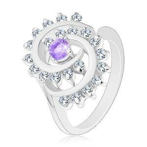 Ligotavý prsteň s ozdobnou špirálou s čírym lemom, svetlofialový zirkón - Veľkosť: 55 mm