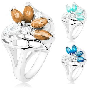 Ligotavý prsteň s rozdelenými ramenami, číre a farebné zirkóny, stuha - Veľkosť: 52 mm, Farba: Hnedá