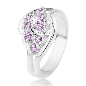 Ligotavý prsteň s rozdelenými ramenami, fialové okrúhle zirkóniky - Veľkosť: 51 mm