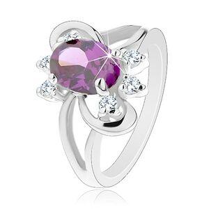 Ligotavý prsteň s rozdvojenými ramenami, fialový brúsený zirkón, hladké oblúky - Veľkosť: 55 mm