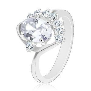 Ligotavý prsteň so zahnutým ramenom, číre oválne a okrúhle zirkóny, oblúčik - Veľkosť: 57 mm