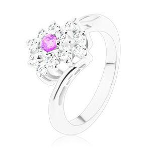 Ligotavý prsteň so zahnutými ramenami, fialové a číre zirkóny v obdĺžniku - Veľkosť: 49 mm