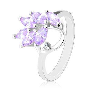 Ligotavý prsteň striebornej farby, vetvička so svetlofialovými zrnkami - Veľkosť: 57 mm