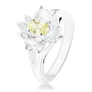 Ligotavý prsteň v striebornom odtieni, rozdelené ramená, žlto-číry kvet - Veľkosť: 55 mm