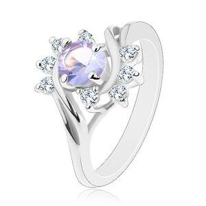 Ligotavý prsteň v striebornom odtieni, svetlofialový okrúhly zirkón, oblúčiky - Veľkosť: 53 mm