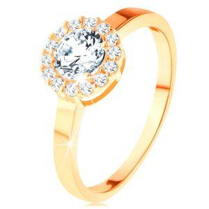 Ligotavý prsteň v žltom 14K zlate - okrúhly zirkón s obrubou z čírych zirkónikov - Veľkosť: 62 mm
