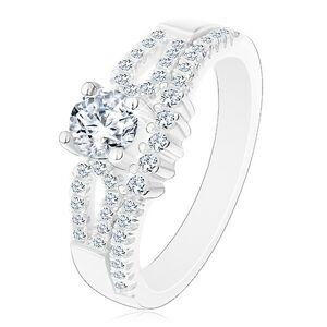 Ligotavý zásnubný prsteň, striebro 925, výrezy na ramenách, číre zirkóny - Veľkosť: 63 mm